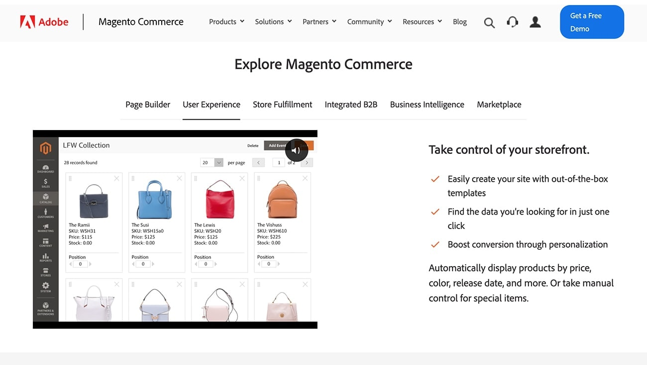 Magento Commerce productos personalizada